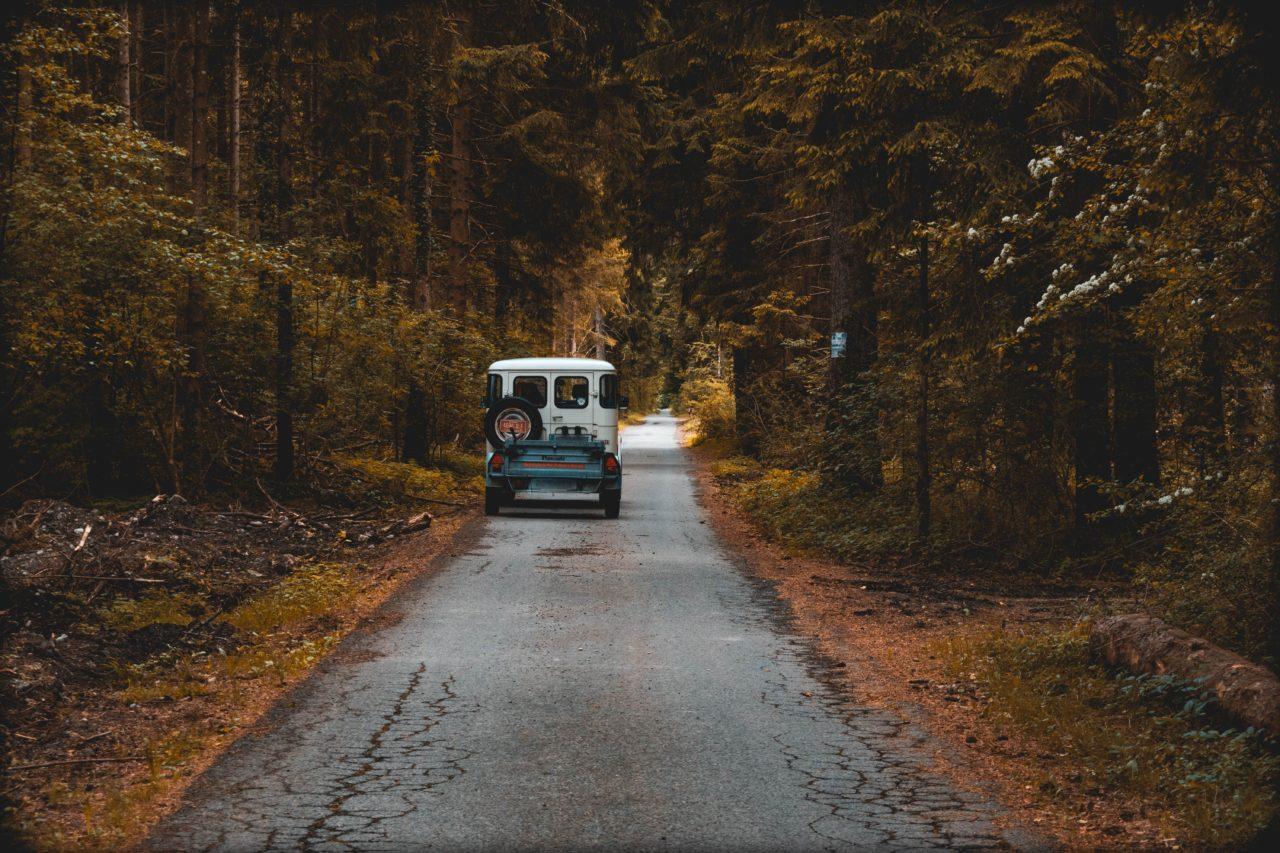 山道を走る自動車