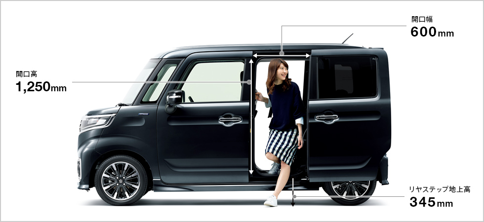 新型スペーシアカスタム 車外、車内、荷室(トランク)、タイヤのサイズは?
